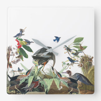Audubon Birds Wildlife Animals Collage Wall Clock