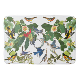 Audubon Birds Wildlife Animals Floral Bath Mat