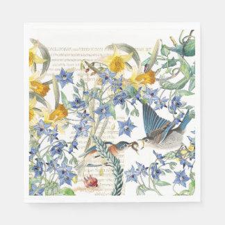 Audubon Bluebird Birds Flowers Paper Napkins