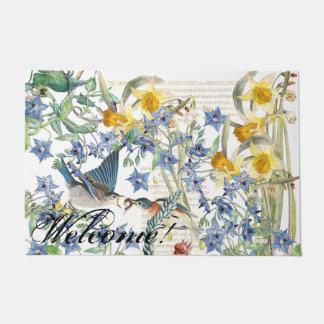 Audubon Bluebird Birds Flowers Welcome Doormat