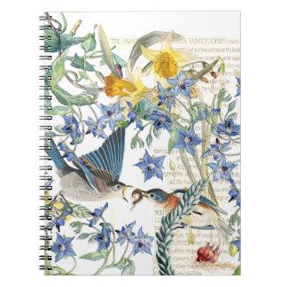 Audubon Bluebird Birds Narcissus Flowers Notebook