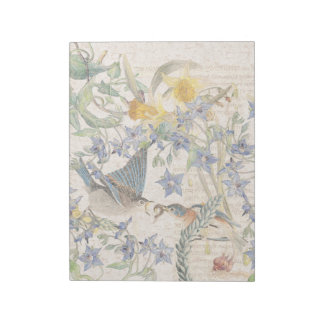Audubon Bluebird Birds Narcissus Flowers Notepad