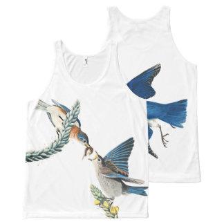 Audubon Bluebird Birds Wildlife Floral Tank Top