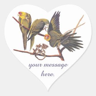 Audubon Carolina Parakeet Trio Heart Sticker