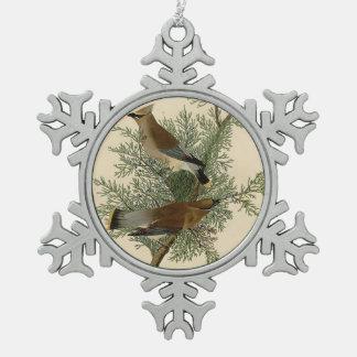 Audubon Cedar Waxwing Bird Pewter Snowflake Ornament
