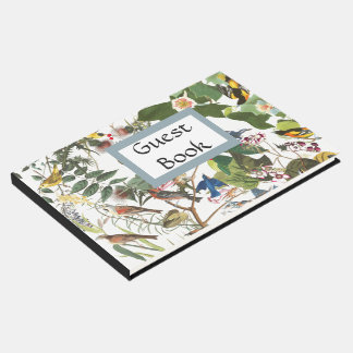 Audubon Collage Birds Wildlife Flowers Guest Book