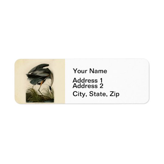 Audubon Great Blue Heron Birds Return Address Label
