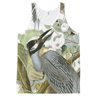 Audubon Heron Bird Floral Wildlife Animal Tank Top