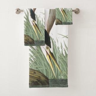 Audubon Heron Bird Wildlife Wetland Bath Towel Set