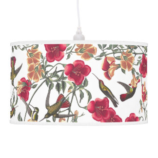 Audubon Hummingbird Birds Floral Hanging Lamp