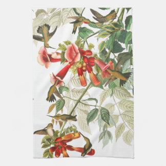 Audubon Hummingbird Birds Flowers Kitchen Towel