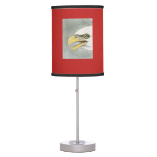 Audubon Illustration of a Bald Eagle on a red lamp