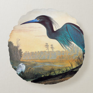 Audubon: Little Blue Heron Round Pillow