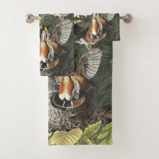 Audubon Robin Birds Wildlife Bath Towel Set