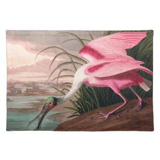 Audubon Roseate Spoonbill Bird Vintage Print Placemat