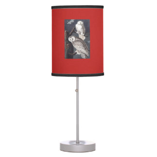 Audubon Snowy Owl lamp with red linen shade.