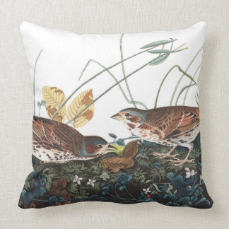 Audubon Sparrow Birds Wildlife Animal Throw Pillow