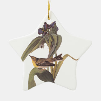 Audubon Vigor's Vireo with Purple Flower Ceramic Star Ornament