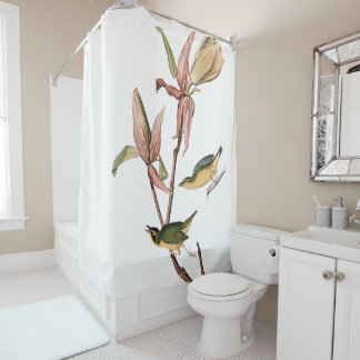 Audubon Warbler Birds Animal Floral Shower Curtain