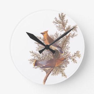 Audubon's Cedar Waxwing Bird Pair on Juniper Tree Round Clock