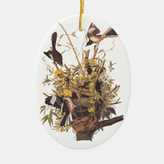 Audubon's Mockingbirds defending nest Ceramic Ornament