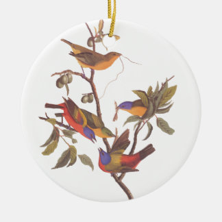 Audubon's Painted Bunting Family of Five Birds Ceramic Ornament