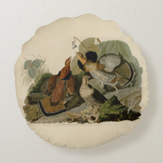 Audubon's Painting of a trio of Ruffed Grouse Round Pillow