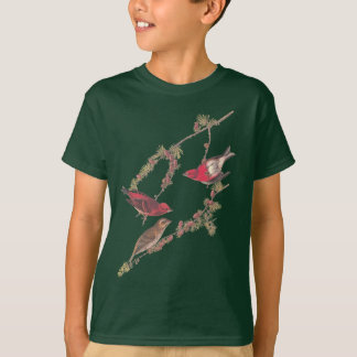 Audubon's Purple Finch Red Bird on Black Larch T-Shirt