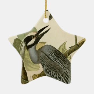 Audubon's Vintage Yellow crowned night heron paint Ceramic Ornament