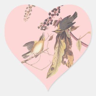 Audubon's Worm Eating Warbler Heart Sticker