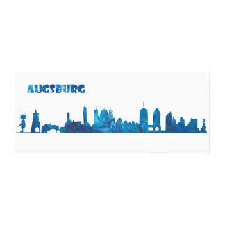 Augsburg Germany Skyline Silhouette Canvas Print