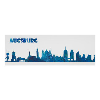 Augsburg Germany Skyline Silhouette Poster