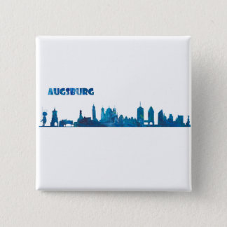 Augsburg Skyline Silhouette 2 Inch Square Button