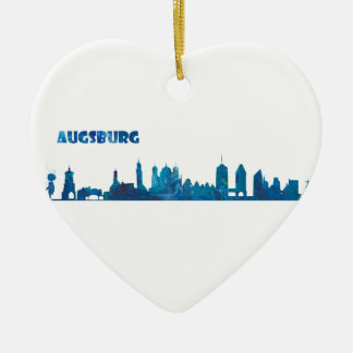 Augsburg Skyline Silhouette Ceramic Ornament