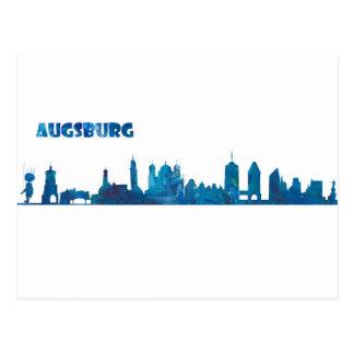 Augsburg Skyline Silhouette Postcard