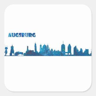 Augsburg Skyline Silhouette Square Sticker