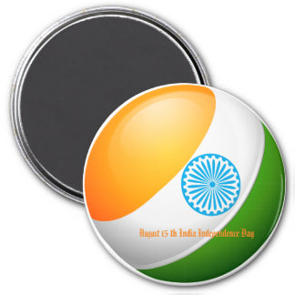August 15 India Independence Day 3 Inch Round Magnet