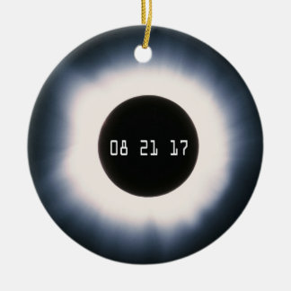 August 2017 Total Solar Eclipse in Black and White Ceramic Ornament
