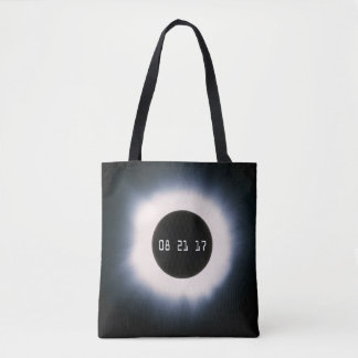 August 2017 Total Solar Eclipse in Black and White Tote Bag