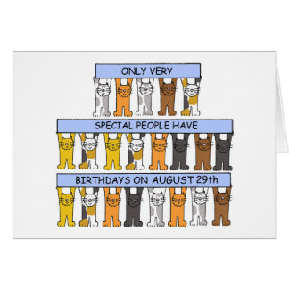 August 29th Birthday Cats Card