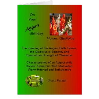 August Birthday Card - Gladiolus and Peridot