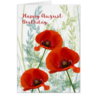 August Birthday Card with Poppies