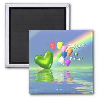 August Birthday Peridot Heart Magnet