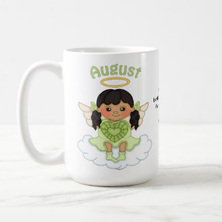 August Birthstone Angel Black Coffee Mug