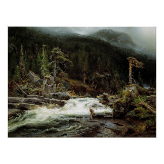 August Cappelen Waterfall in Telemark Poster