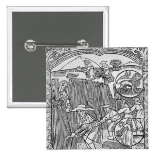 August, harvesting, Leo 2 Inch Square Button