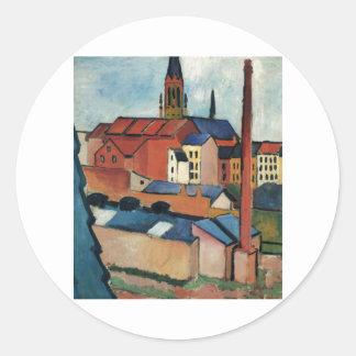 August Macke - Bonn Houses and Chimney 1911 Oil Round Sticker