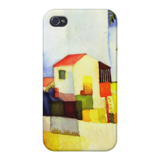 August Macke Bright House Watercolor Painting Cases For iPhone 4