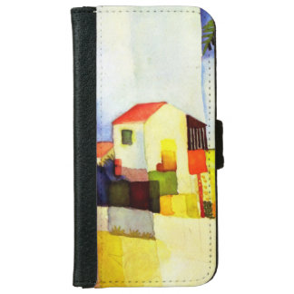 August Macke Bright House Watercolor Painting iPhone 6 Wallet Case