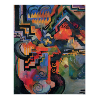 August Macke - Color Composition Ode to Bach 1912 Poster